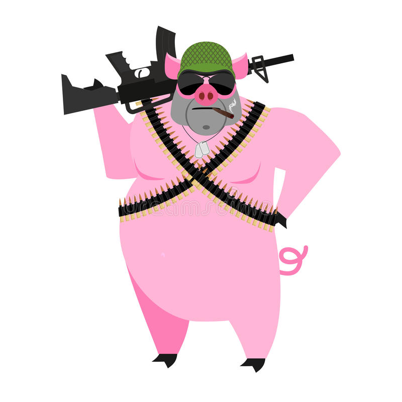 Świniowaci żołnierze chlewni wojna Dziki knur z pistoletem aper wojownik Gospodarstwo rolne ilustracja wektor