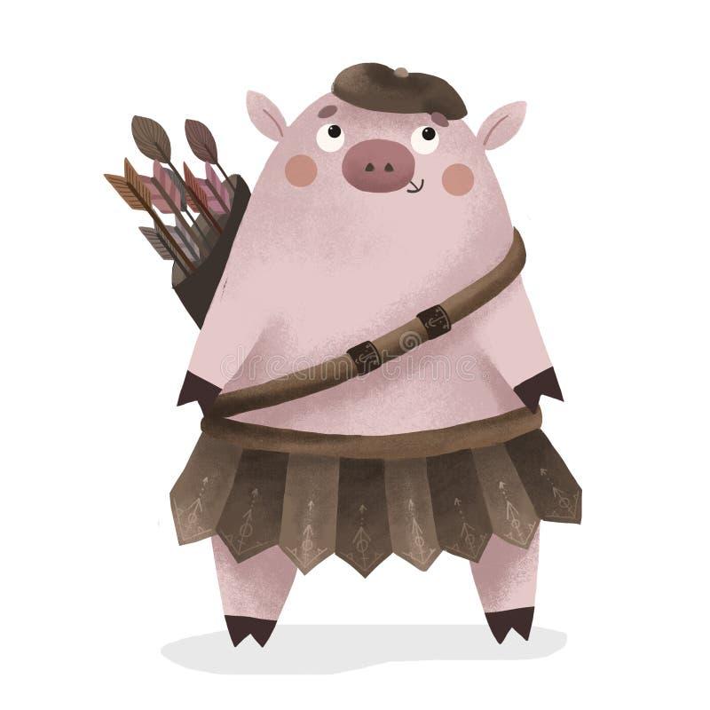 Świniowata łuczniczka, symbol 2019 royalty ilustracja