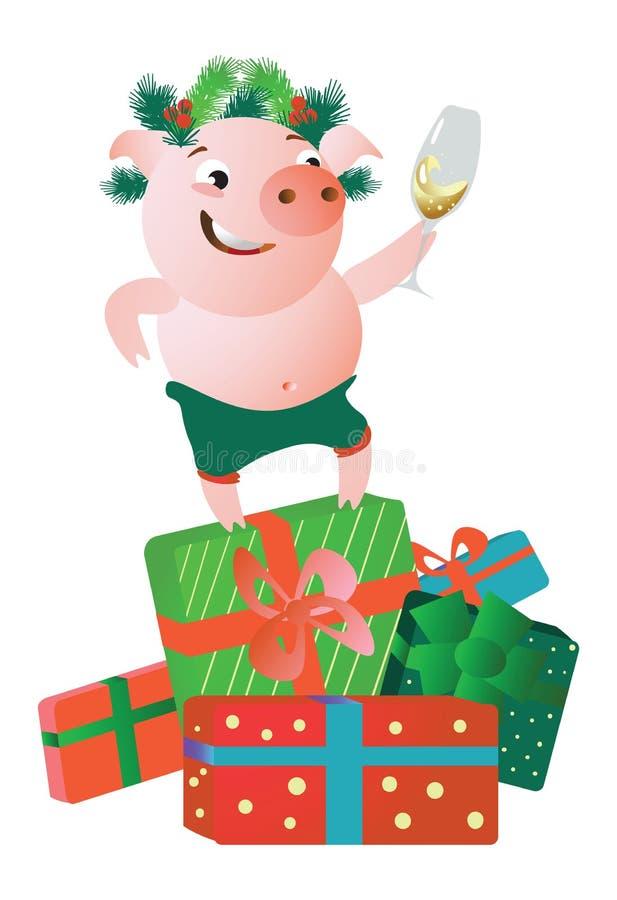 Świniowata pozycja na prezentów pudełkach i dawać mowie ilustracji
