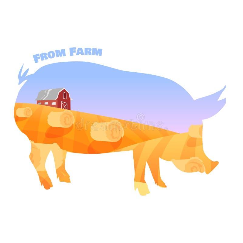 Świniowata sylwetka z dwoistym ujawnieniem piękny ilustracji