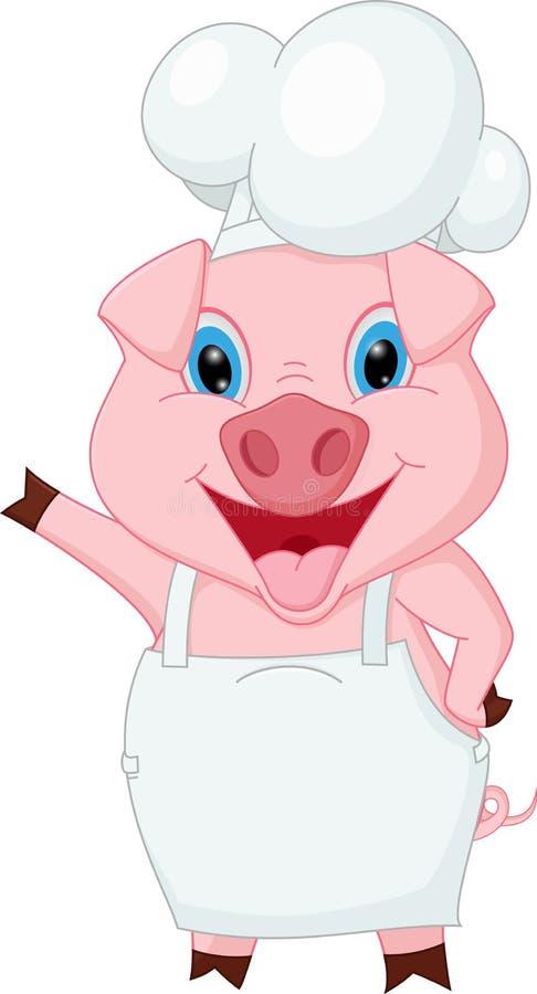 Świniowata szef kuchni kreskówki falowania ręka ilustracji