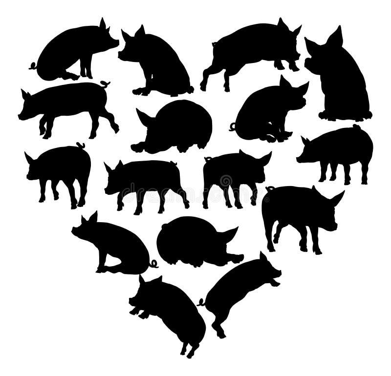 Świniowatego serca sylwetki pojęcie ilustracja wektor