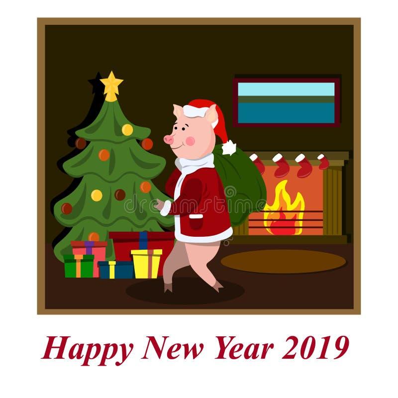 Świniowaty Święty Mikołaj niesie teraźniejszość dla bożych narodzeń royalty ilustracja