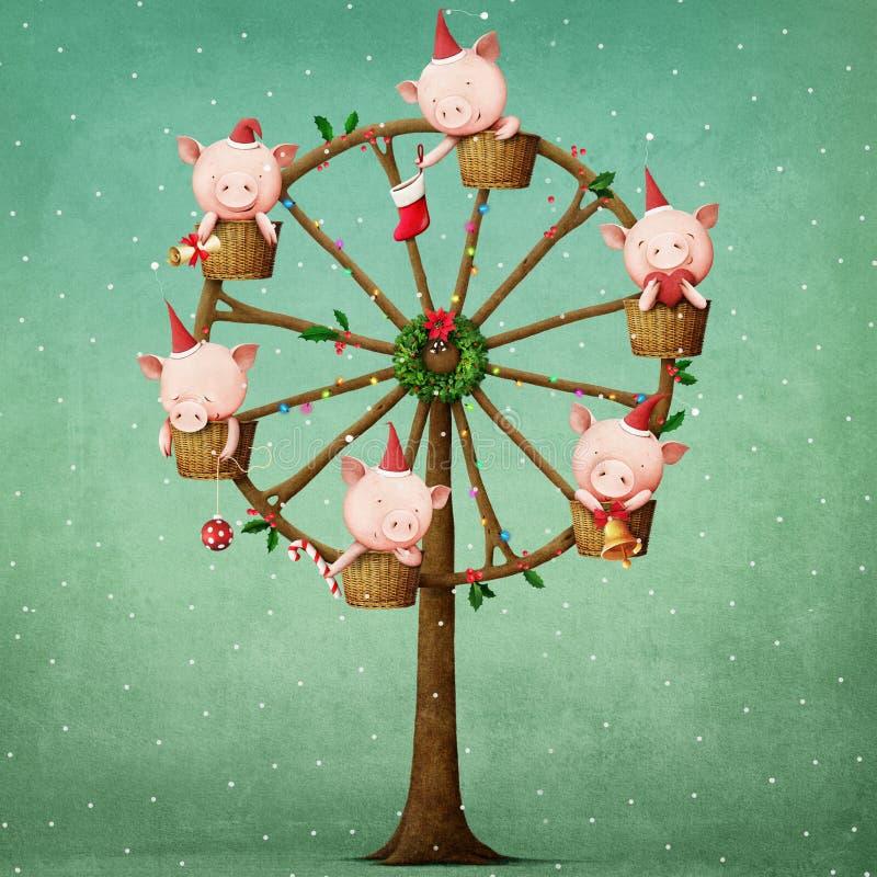 Świniowaty carousel royalty ilustracja