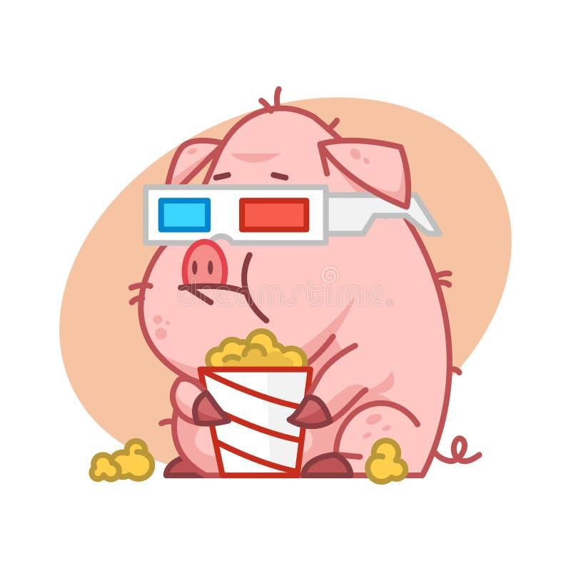 Świniowaty charakter je popkorn w 3d szkłach royalty ilustracja