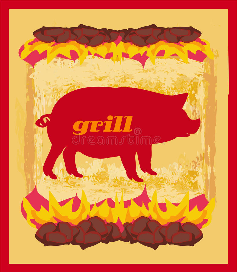 Świniowaty Grunge plakat - grilla menu karta ilustracji