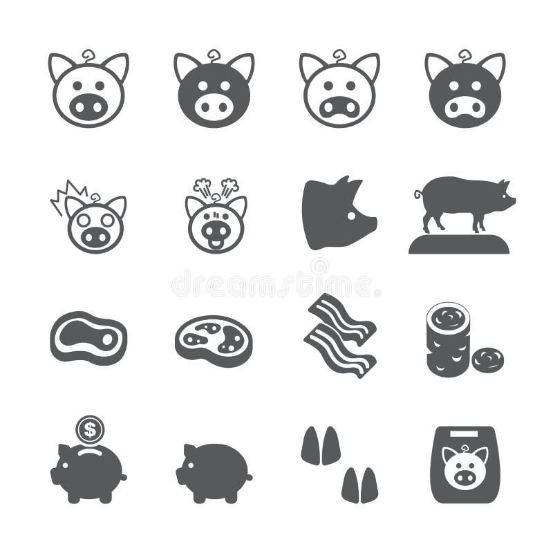 Świniowaty ikona set ilustracji
