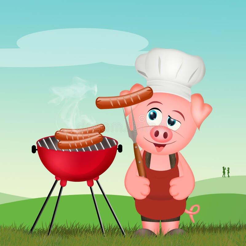 Świniowaty kulinarny kiełbasa grill ilustracja wektor