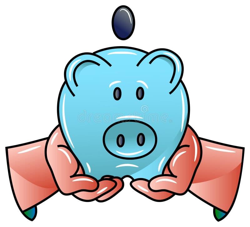 Świniowaty pieniądze pudełko w rękach royalty ilustracja