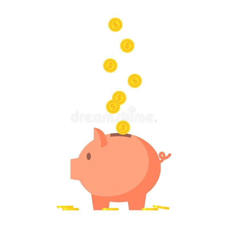 Świniowaty prosiątko bank z moneta wektoru ilustracją ilustracji