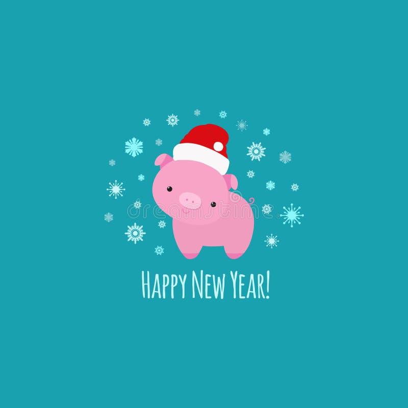 Świniowaty symbol roku 2019 zwierzę szyldowy, małego prosiaczka śliczna śmieszna postać z kreskówki royalty ilustracja
