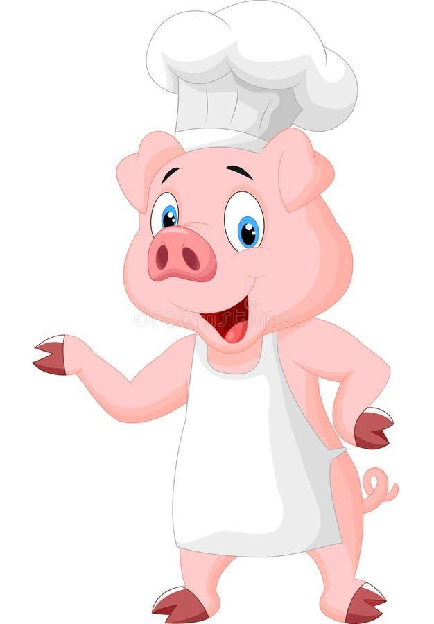 Świniowaty szef kuchni kreskówki przedstawiać royalty ilustracja