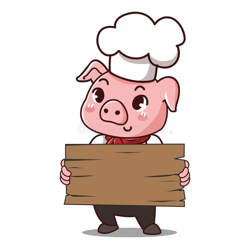 Świniowaty szef kuchni trzyma znaka royalty ilustracja