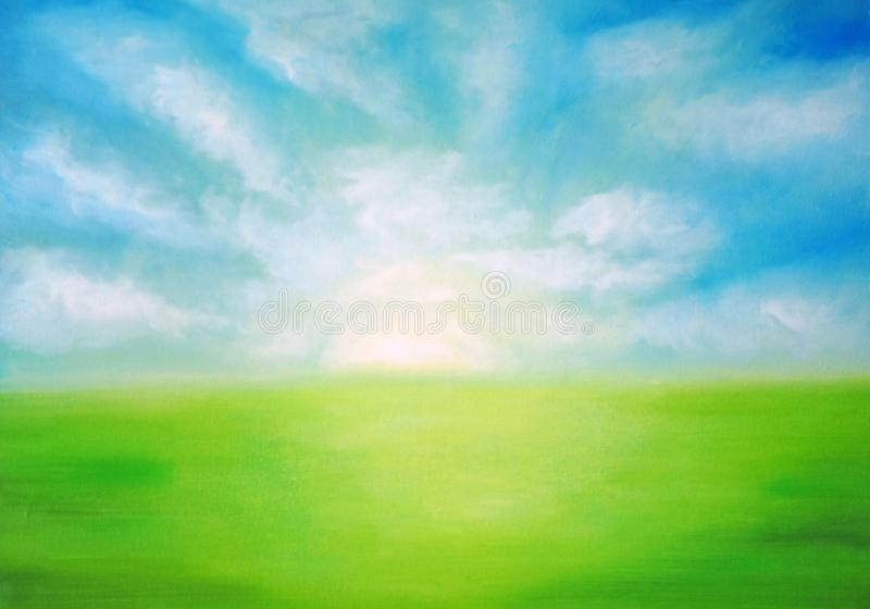 Świt nad zieloną łąką fotografia royalty free