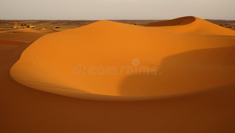 Świt nowy dzień w pustynnych diunach erg w Maroko obrazy royalty free