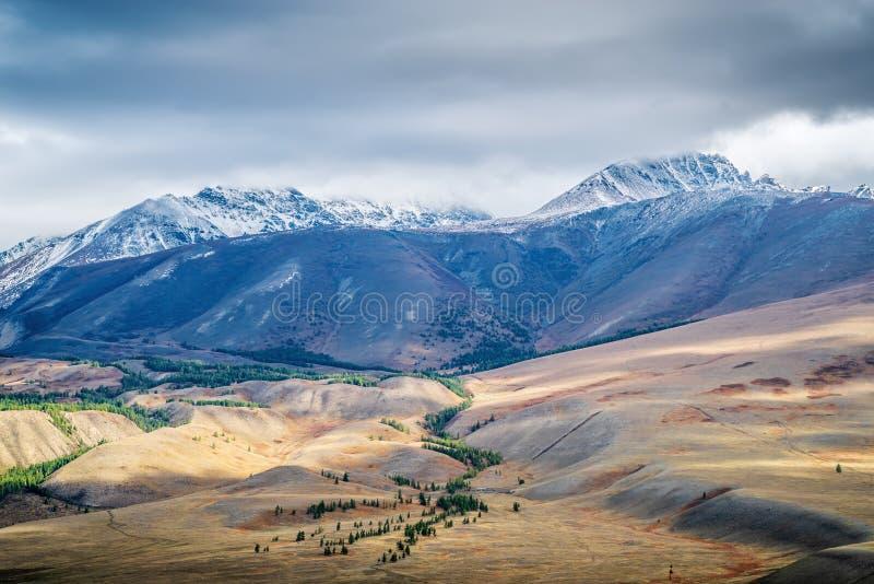 Świt w dolinie Chuy, widok na grzbiet Kurai zdjęcie royalty free