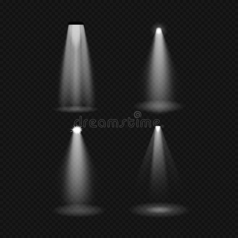 Źródła światła, zaświeca płonące lampy, fluorowiec, fluorescencyjny, floodlight, światło słoneczne, pozafioletowy ilustracji
