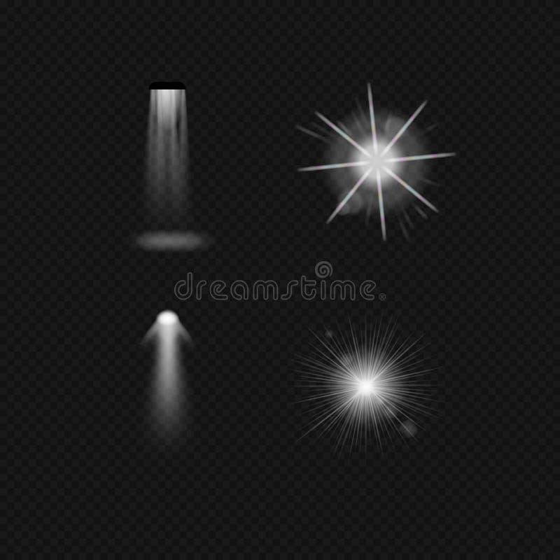 Źródła światła, zaświeca płonące lampy, fluorowiec, fluorescencyjny, floodlight, światło słoneczne, pozafioletowy royalty ilustracja
