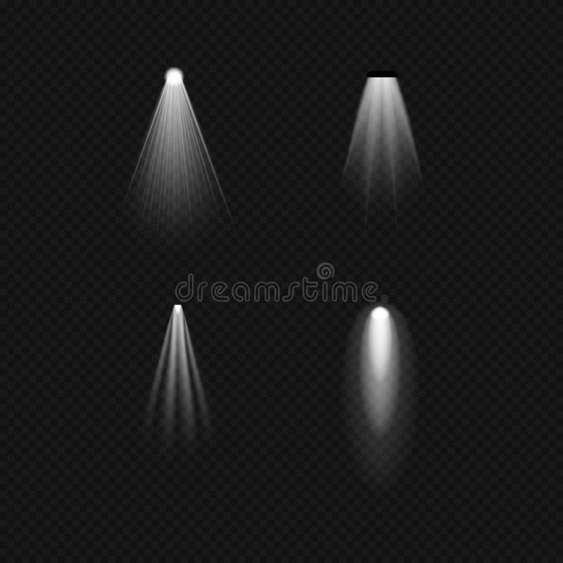 Źródła światła, zaświeca płonące lampy, fluorowiec, fluorescencyjny, floodlight, światło słoneczne, pozafioletowy ilustracja wektor