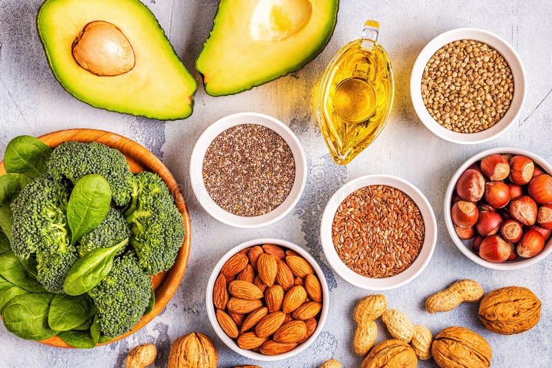 Źródła wegańskie omega 3 i tłuszcze nienasycone zdjęcie stock