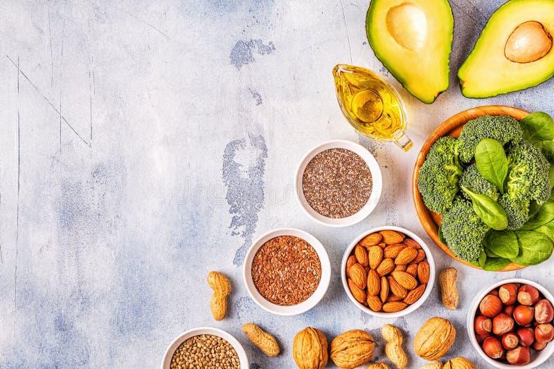 Źródła wegańskie omega 3 i tłuszcze nienasycone fotografia stock