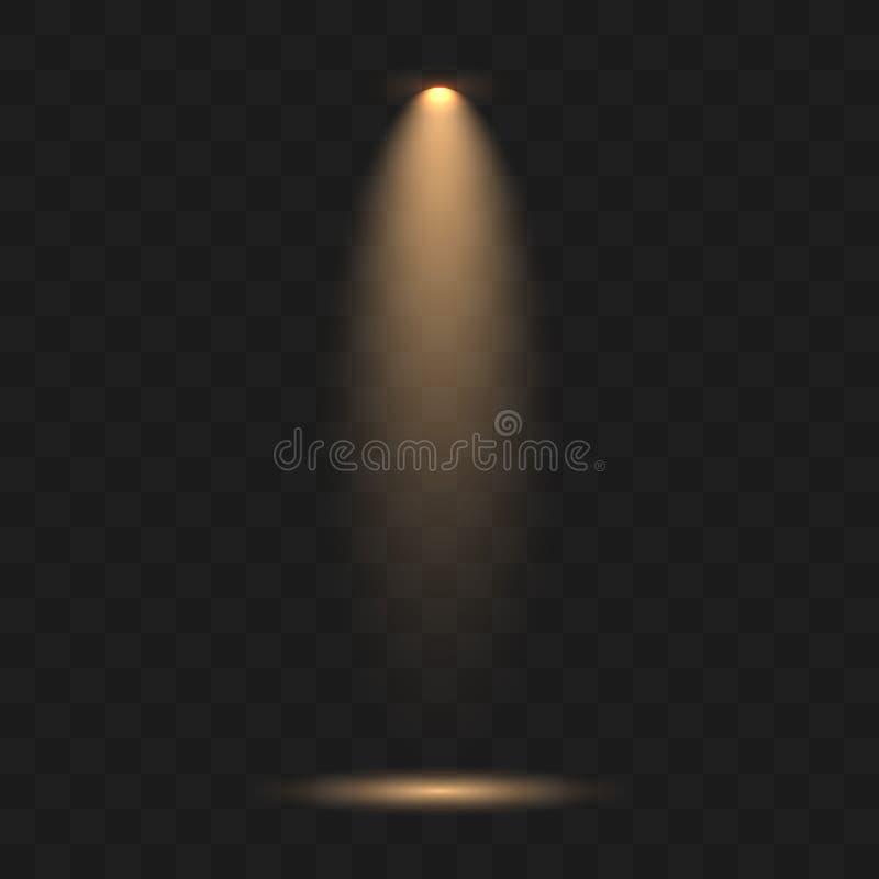 Źródło światła, koncertowy oświetlenie, scen światło reflektorów ilustracja wektor