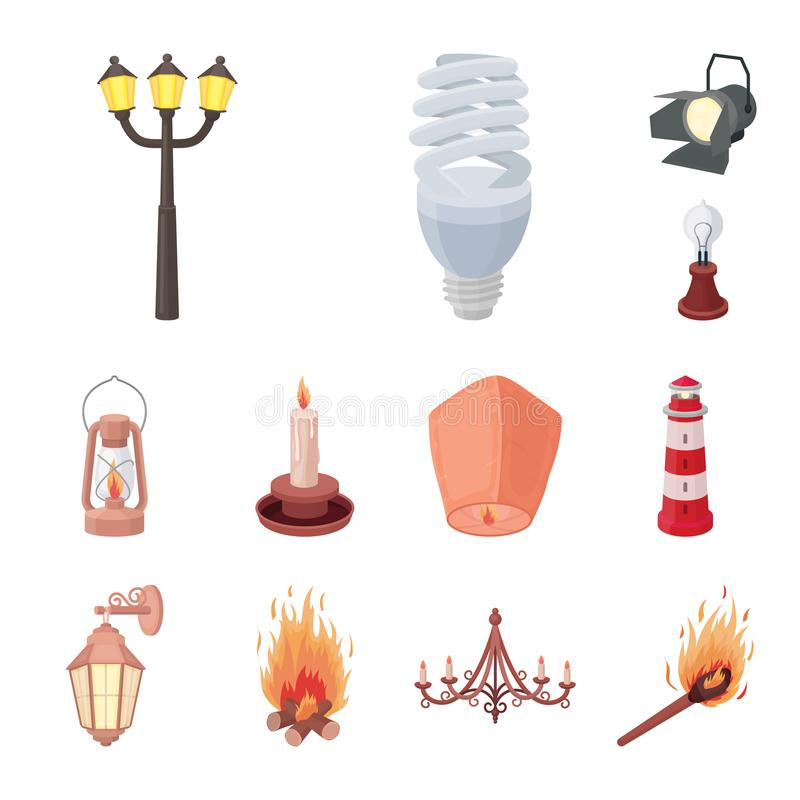 Źródło światła kreskówki ikony w ustalonej kolekci dla projekta Światła i wyposażenia wektorowy symbol zaopatruje sieci ilustracj royalty ilustracja