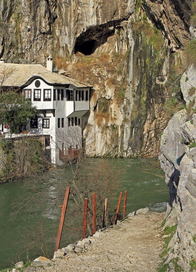 Źródło Buna rzeka w mieście Blagaj obrazy royalty free