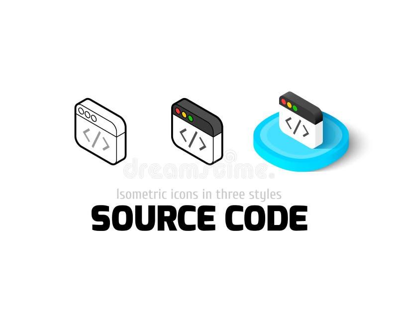 Źródło kodu ikona w różnym stylu royalty ilustracja