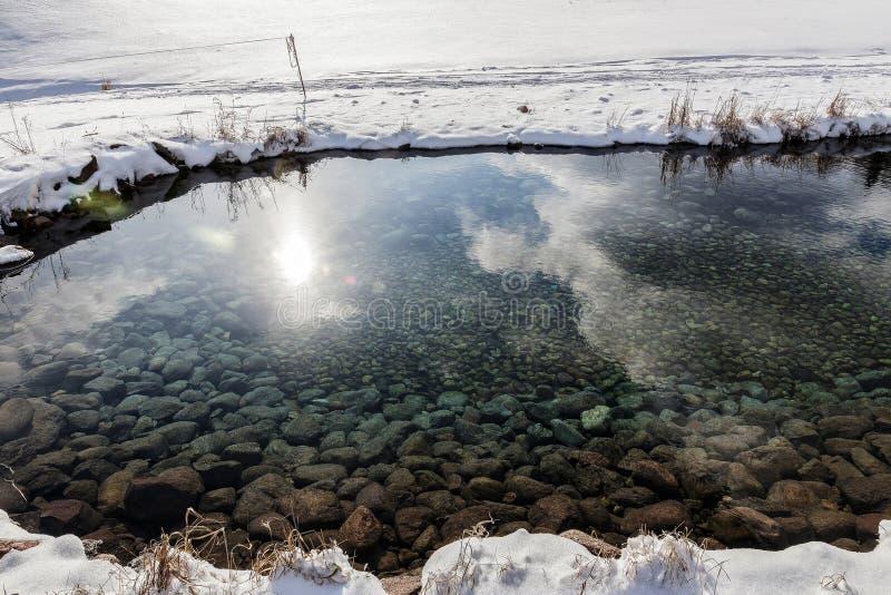 Źródło Latvia Batas źródło Marznący, Piękny, Zimny zima dzień, obrazy stock