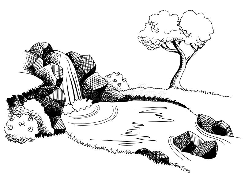 Źródło siklawy graficznej sztuki czerni bielu krajobrazu ilustracja royalty ilustracja