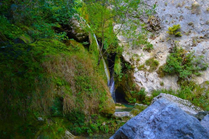 Źródło Urederra lub trasa siklawy Baqueda zdjęcie royalty free