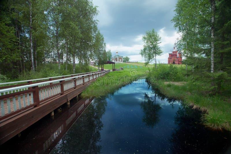 Źródło Volga ujawnienie strzał długi rzeczny rosyjski zdjęcia royalty free