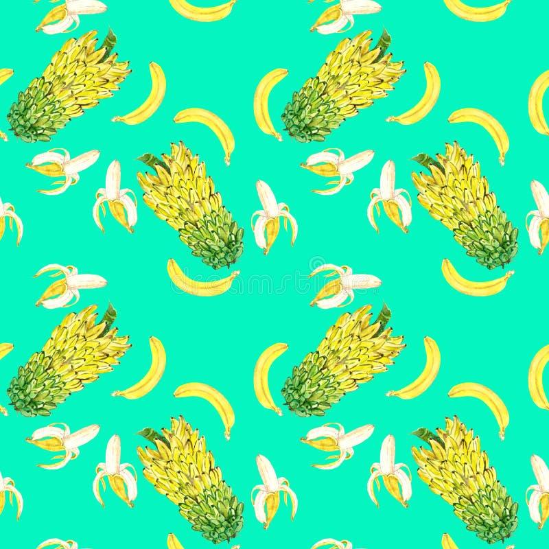 Żółci banany otwierają, cały i poziomie ilustracja wektor