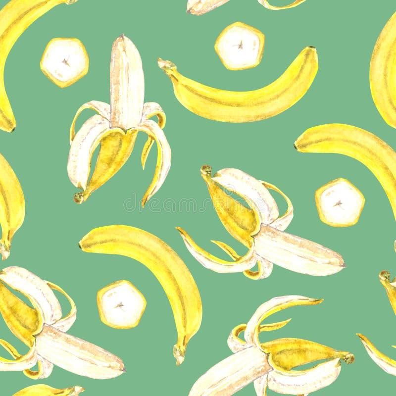 Żółci banany otwierają, cały i rżnięty plasterek, ilustracja wektor