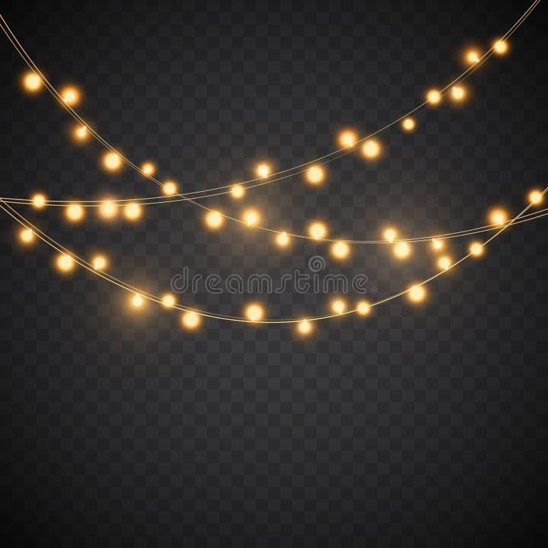 Żółci bożonarodzeniowe światła, wektorowa girlandy ilustracja ilustracja wektor