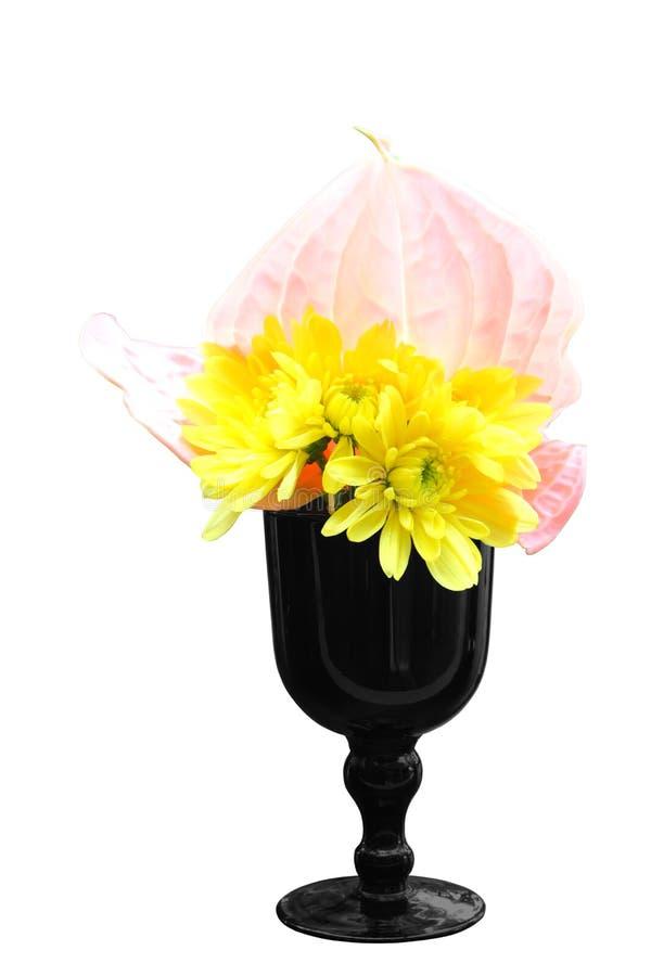 Żółci chryzantemy i menchii flaminga kwiaty w wazie odizolowywającej zdjęcia royalty free