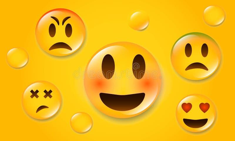 Żółci emoticons w ogólnospołecznej medialnej pojęcie projekta wektoru ilustraci ilustracja wektor