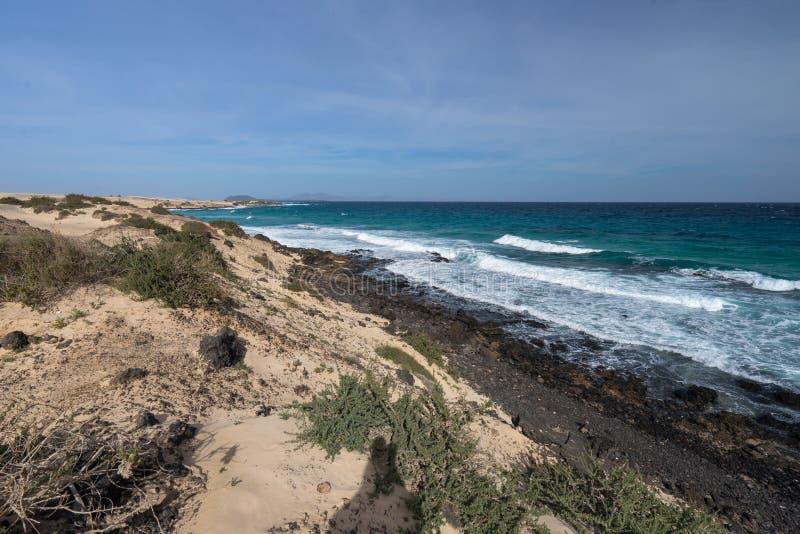 Żółci piaska i czerni kamienie na powulkanicznej linii brzegowej fotografia royalty free