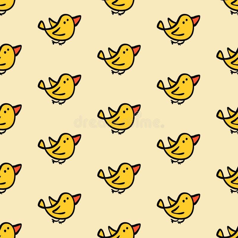 Żółci ptaki lata ręka rysującego bezszwowego wzór royalty ilustracja