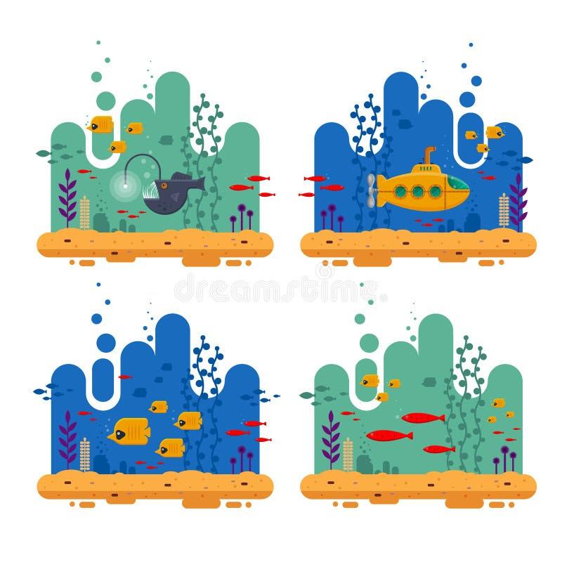 Żółta łódź podwodna z peryskopu podwodnym pojęciem Morski życie z ryba kierdlem, wędkarz ryba, koral, gałęzatka, kolorowa royalty ilustracja