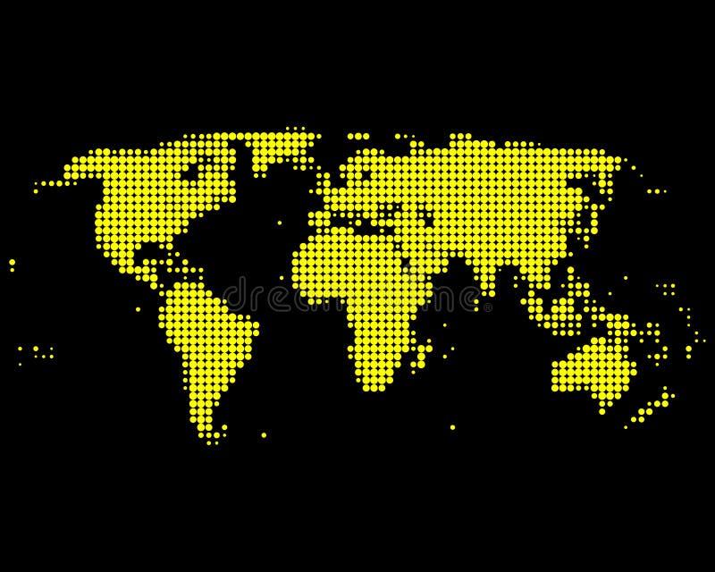 Żółta światowa mapa royalty ilustracja