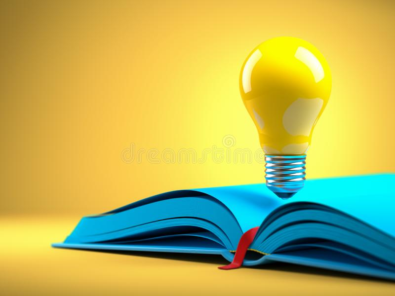 Żółta żarówka na błękitnym otwiera książkę Idean i twórczości pojęcia tło ilustracji