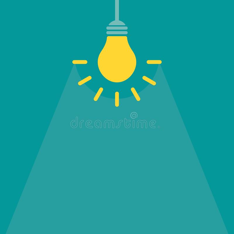 Żółta żarówka z promieniami na błękitnym tle Wyobra?ni ikona nowy biznesowy pomys? ilustracja wektor