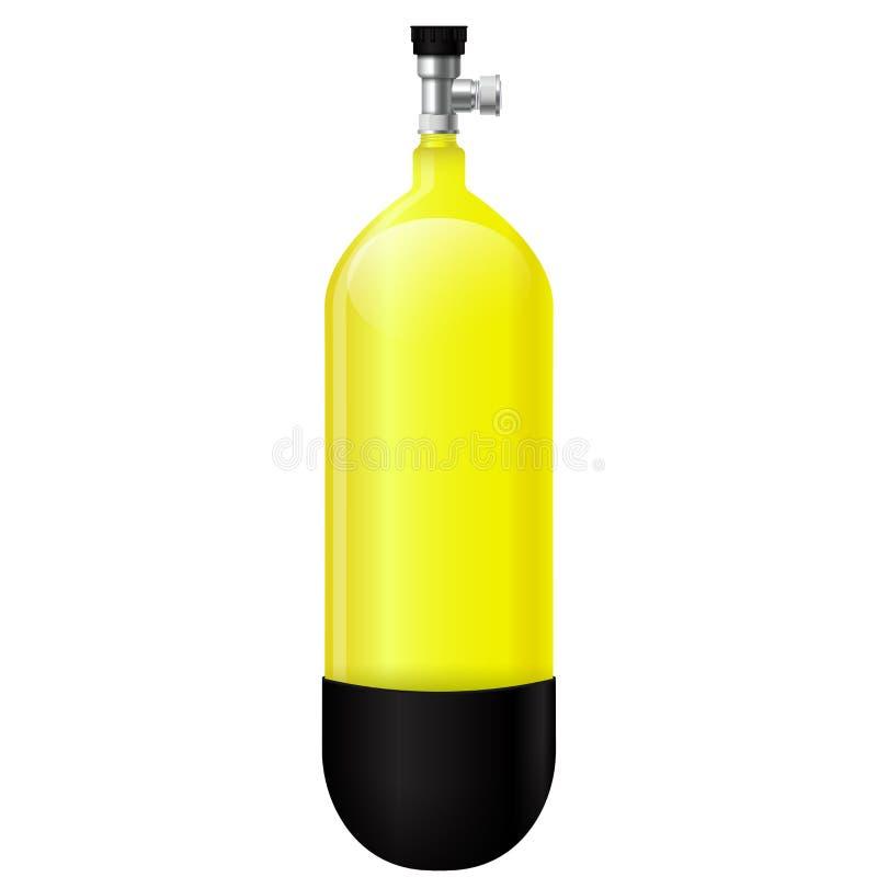 Żółta akwalung butla ilustracja wektor