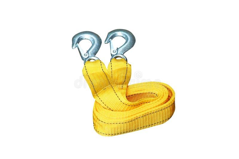 Żółta arkana z haczykiem dla włóczydło samochodu odizolowywającego na białym tle obrazy royalty free