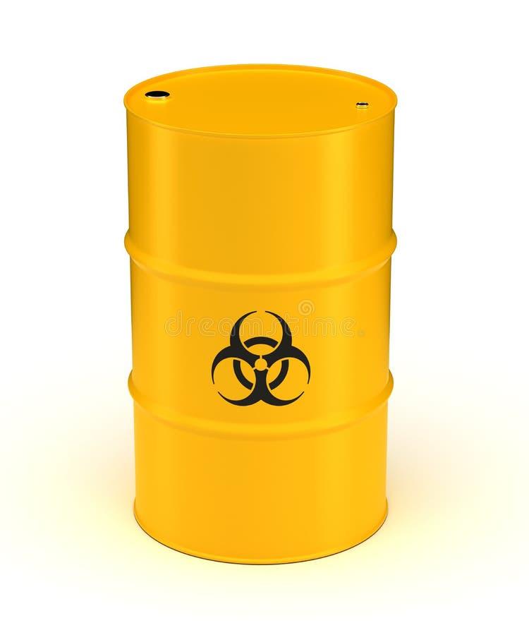 Żółta Biohazard odpady baryłka ilustracji