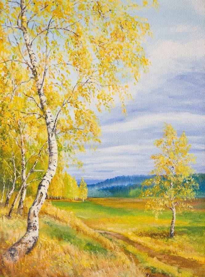 Żółta brzoza na tła chmurnym niebie ilustracja wektor
