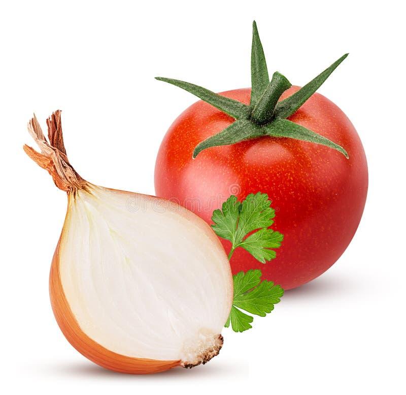 Żółta cebula ciąca w połówce, czerwony pomidor, zielona pietruszka fotografia stock