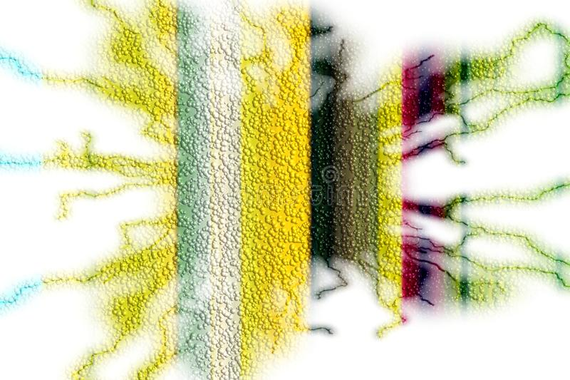 Żółta czerwieni zieleń gulgocze błyskawicowego tło, iskrzasty abstrakcjonistyczny tło royalty ilustracja